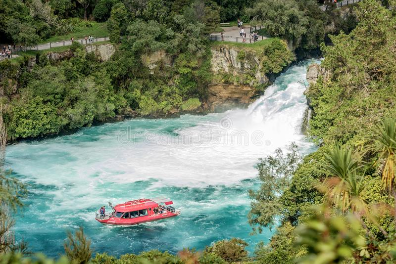 Tourist adventure in Huka Falls with Huka the most famous iconi stock photos