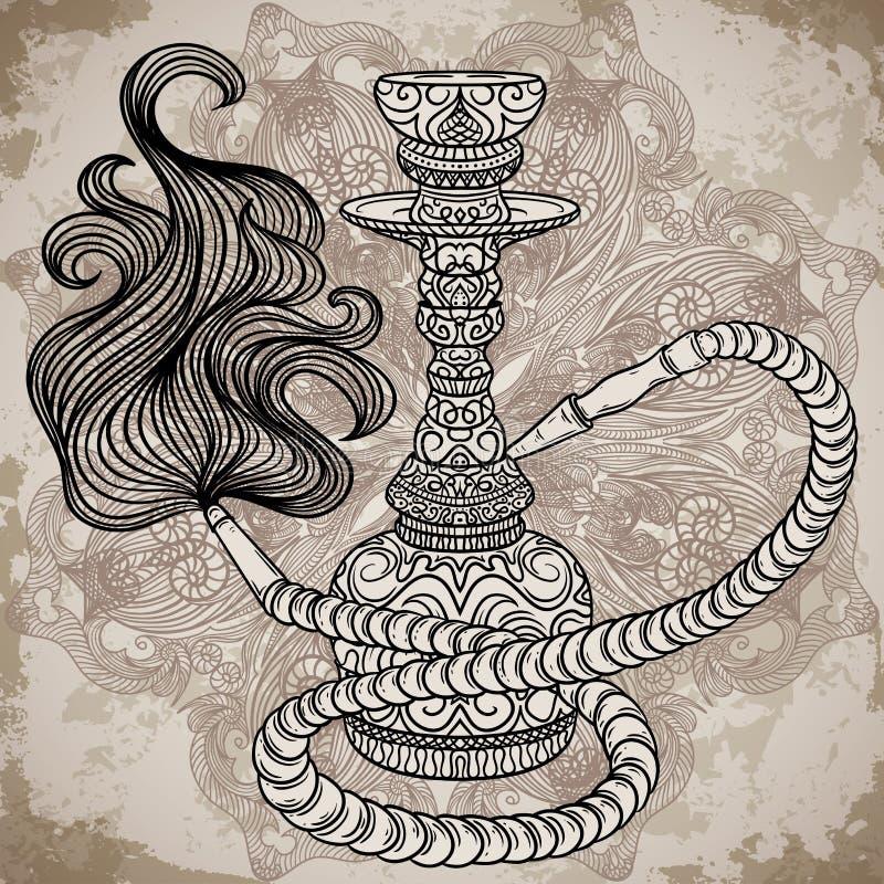 Huka mit orientalischer Verzierung und Rauch über aufwändiger Mandala auf gealtertem Papierhintergrund stock abbildung