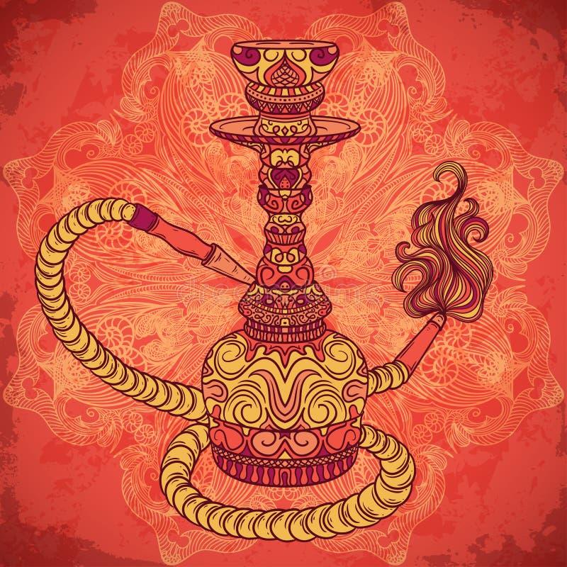 Huka mit orientalischer Verzierung und Rauch über rundem Muster der aufwändigen Mandala lizenzfreie abbildung