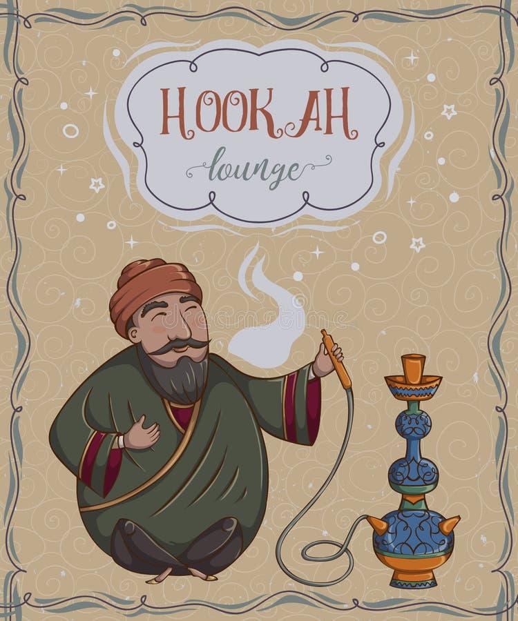 Hukaaufenthaltsraum Weinlesekarte mit dem Rauchen des arabischen Mannes vektor abbildung