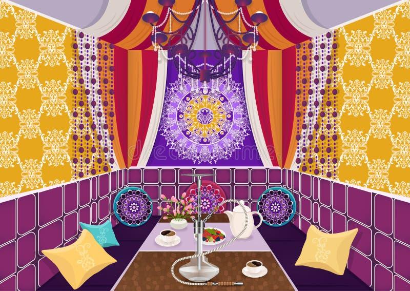 Hukaraumaufwändiges verziert in der orientalischen Art, flache Zeichnung, Vektorillustration Heller Mehrfarbenraum mit Sofa mit K vektor abbildung