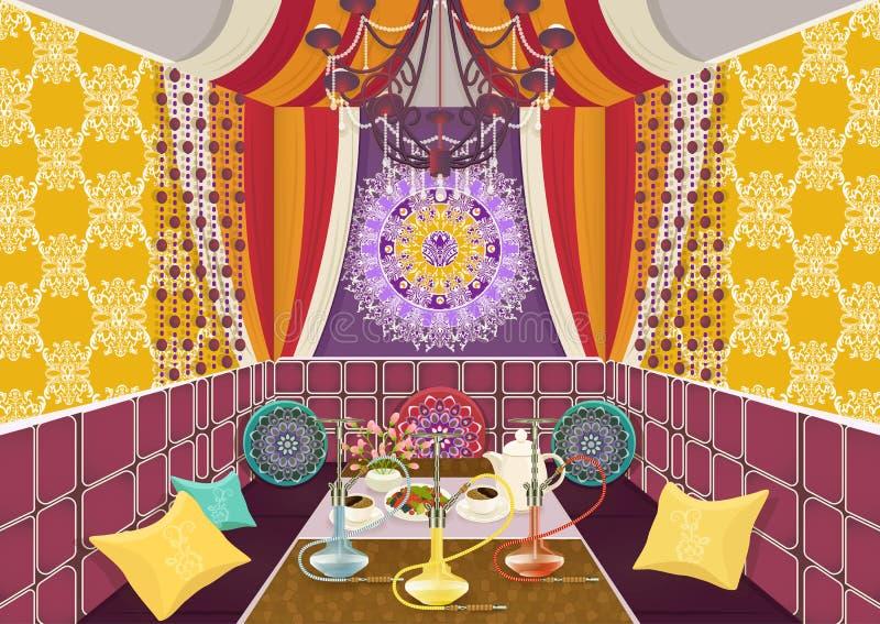 Hukaraumaufwändiges verziert in der orientalischen Art, flache Zeichnung, Vektorillustration Heller Mehrfarbenraum mit Sofa mit K lizenzfreie abbildung