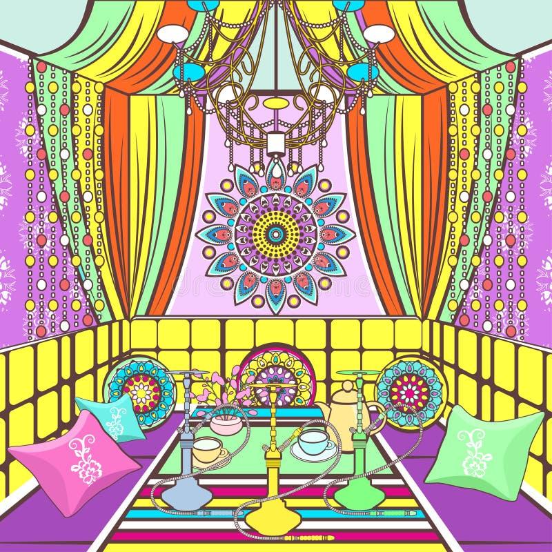 Hukaraumaufwändiges verziert in der orientalischen Art, zeichnende Karikatur, Vektorillustration Heller bunter Raum mit Sofa stock abbildung