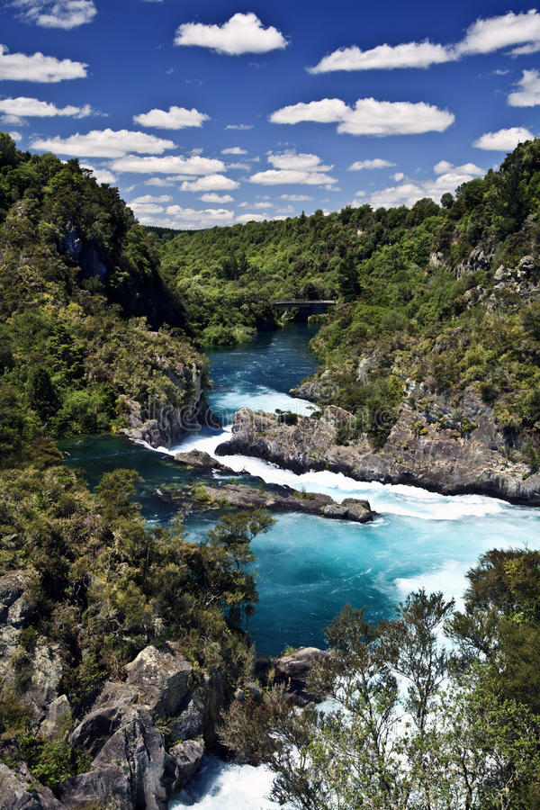 Hukka cade fiume Nuova Zelanda immagine stock