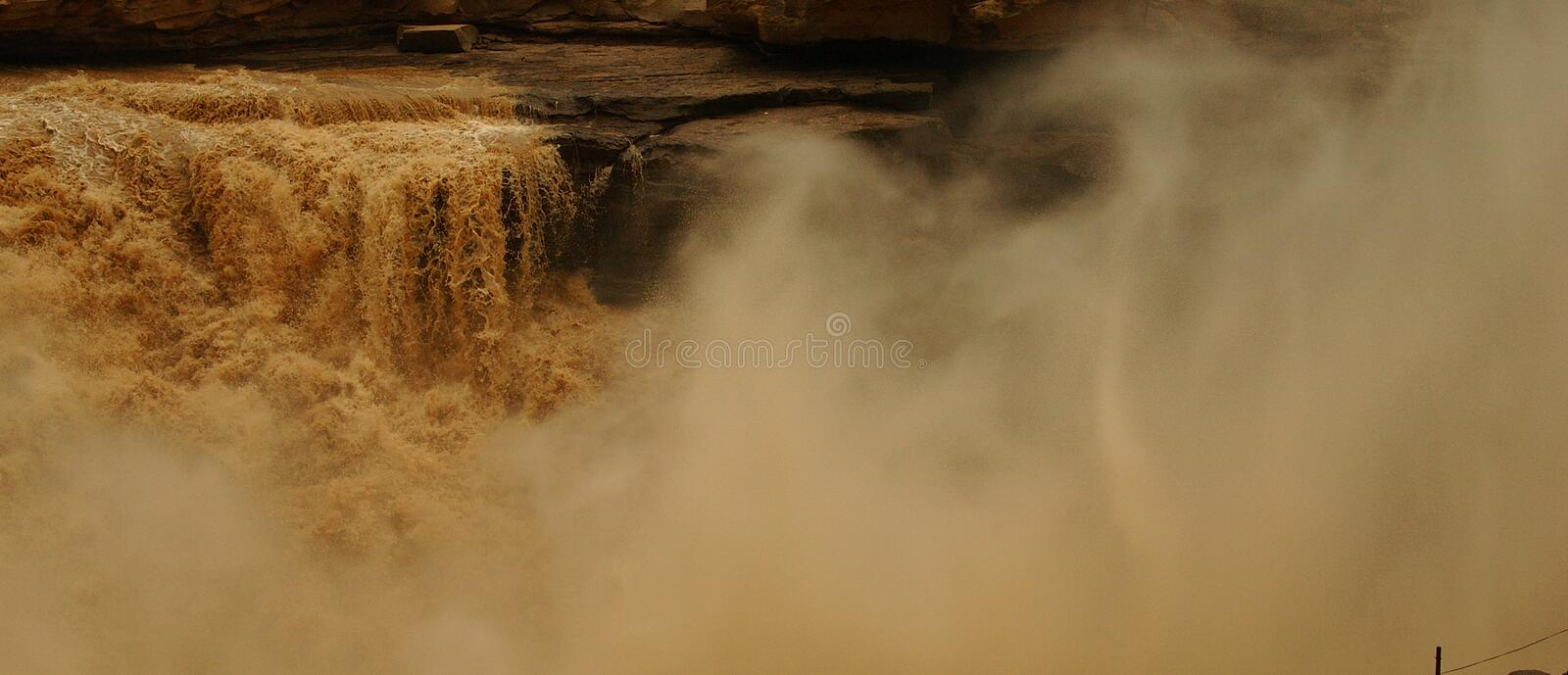 Hukou Waterfalls (Kettle Spout Falls). The Hukou Waterfall, the largest waterfall on the Yellow River, China, the second largest waterfall in China, is located stock images