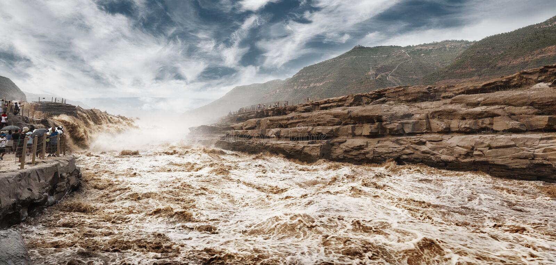 Hukouwaterval van de Gele Rivier royalty-vrije stock afbeeldingen