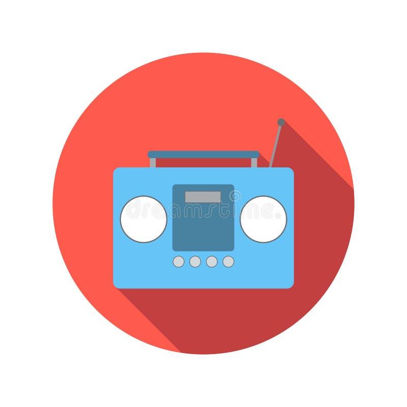 Huku pudełka lub radio kasety taśmy gracza mieszkania ikona ilustracji