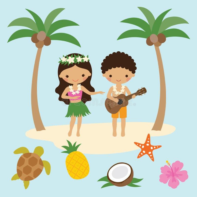 Hula舞蹈家女孩和尤克里里琴男孩在夏威夷 库存例证