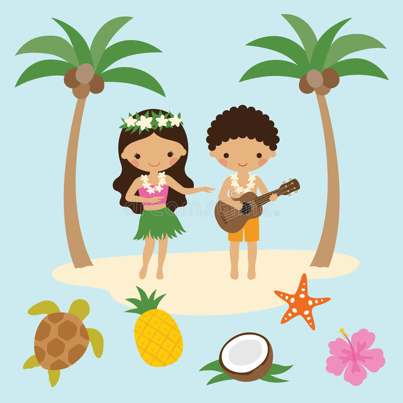 Hula dansare Girl och ukulelepojke i Hawaii stock illustrationer