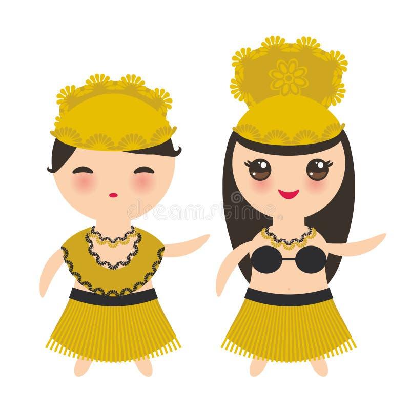 Hula för hawaiibo för Hawaii kortdesign dansare i den traditionella flickan för dräktKawaii pojke som isoleras på vit bakgrund ve royaltyfri illustrationer