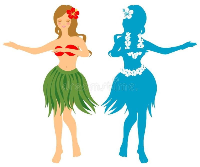 Hula girl. The woman dances the hula