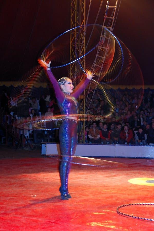 Hula-hoop dancer. In action. Circo di Avrasya. In denizli performance royalty free stock images