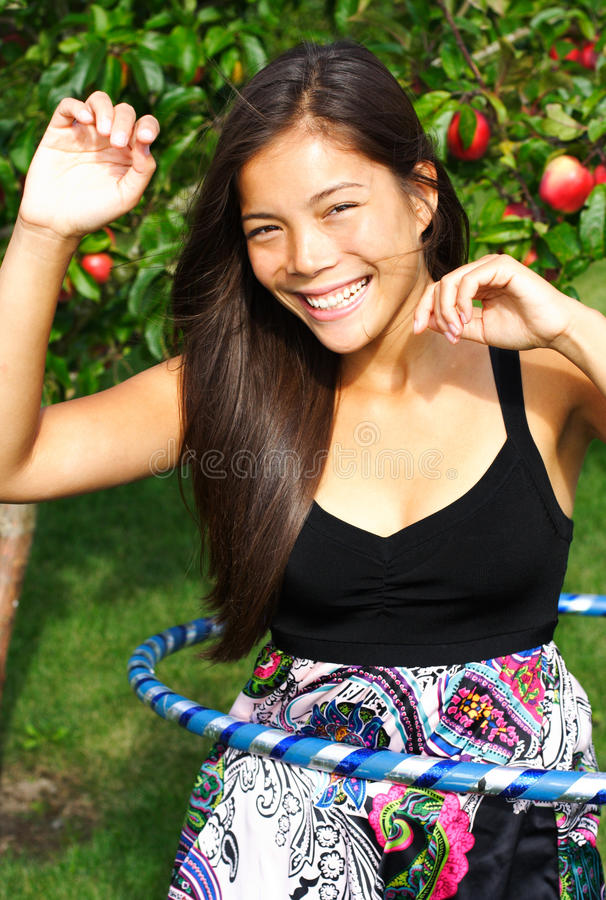 Hula hoop girl stock photo