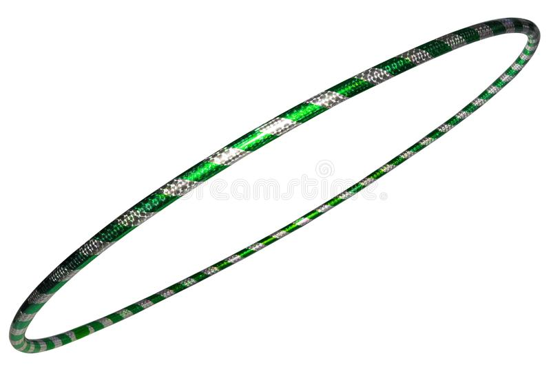 The hula Hoop silver with green closeup Isolated. On white background. Fitness equipment royalty free stock photos