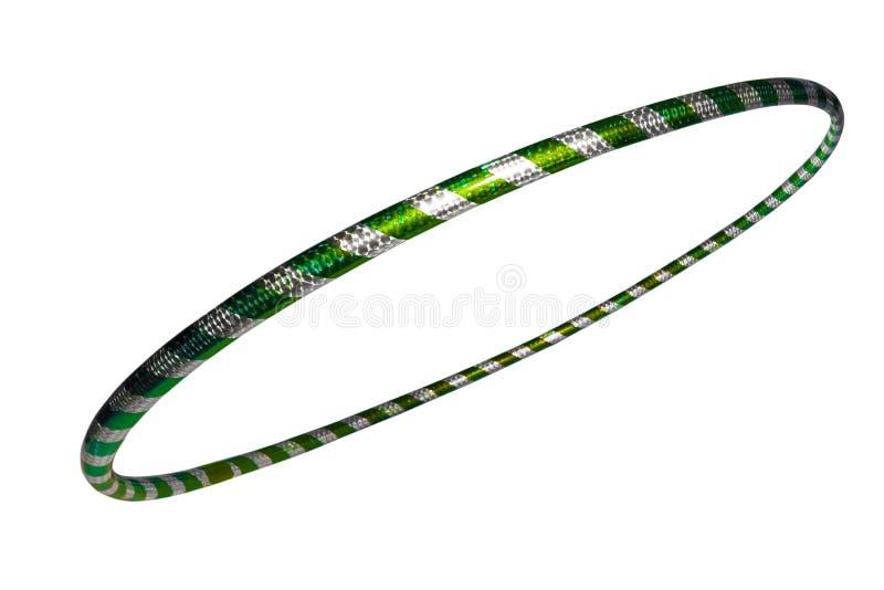 The hula Hoop silver with green closeup Isolated on white background. The hula Hoop silver with green closeup, background, bangle, beautiful, bracelet, circle stock image