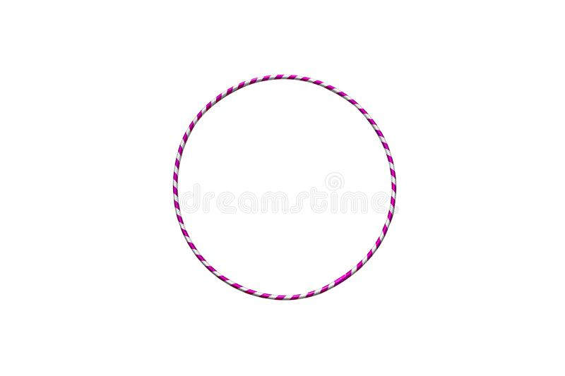 Hula Hoop silver with purple isolated on white background. Bangle, beautiful, class, dance, dedication, diet, equipment, exercise, figure, fitness, fun stock images