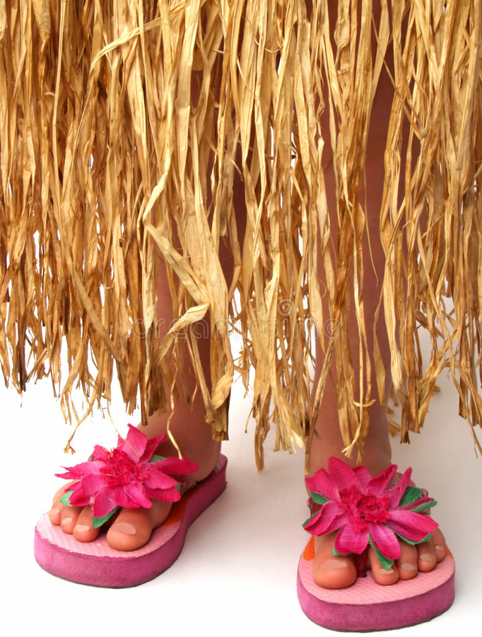 Free Hula Skirt And Flip Flops Royalty Free Stock Images - 966889