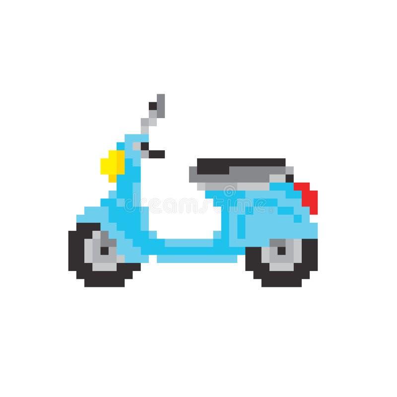 Hulajnoga motocykl w piksel sztuki stylu odizolowywał wektorową ilustrację ilustracji