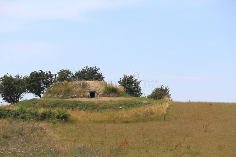 Hulbjerg段落坟墓,Bagenkop,丹麦 库存照片