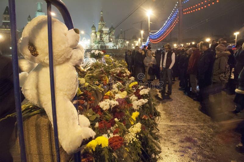 Hulde aan Boris Nemtsov in Moskou royalty-vrije stock fotografie