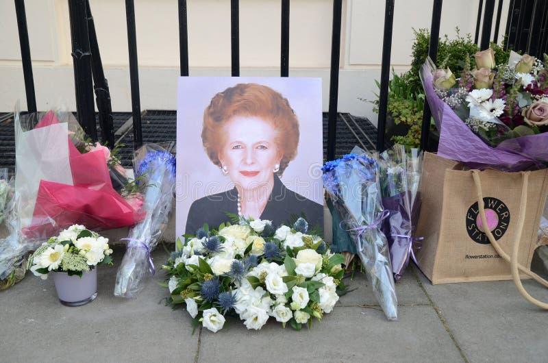 Hulde aan Ex Britse Eerste Munster Margret Thatcher Who Died L stock foto