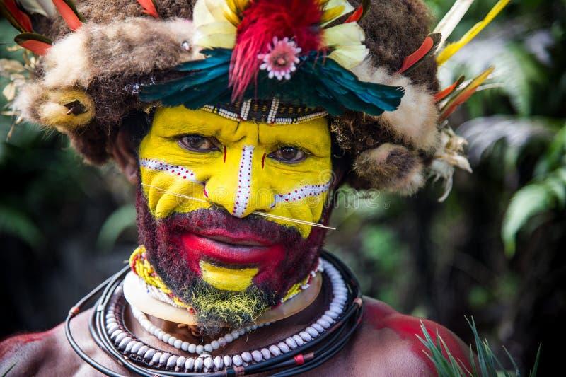 Huli Wigmen em Tari fotos de stock royalty free