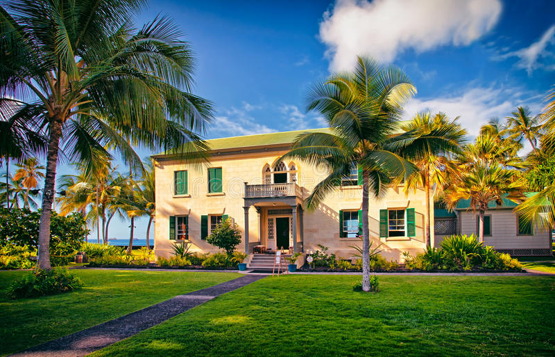 Hulihee slott, Kailua stad, Kona kust, stor ö Hawaii royaltyfria foton