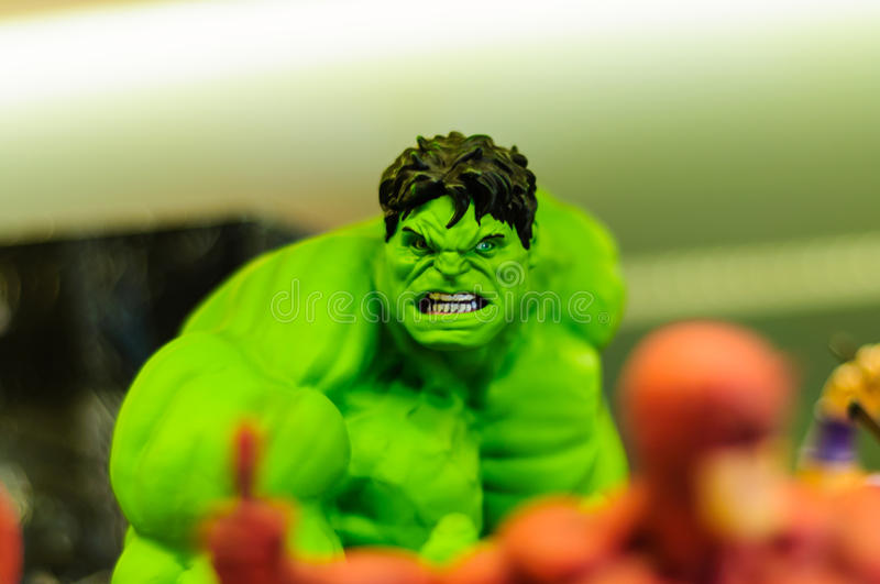 Hulk Figurine. Realistic figurine of Hulk comic character on a sophisticated toy and collection shop stock photos
