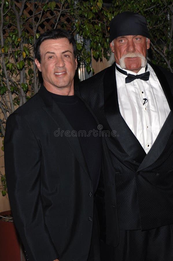Hulk Hogan Sylvester Stallone royaltyfria bilder