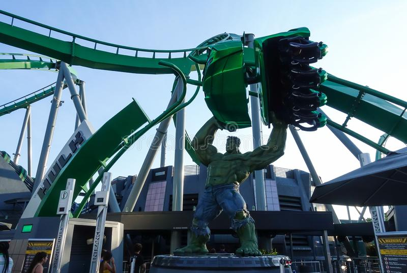 Hulk Roller Coaster entrance in Universal Studios stock photo