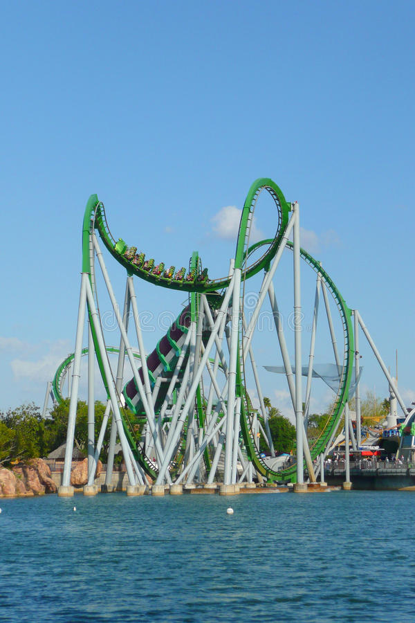 The Hulk. Rollercoaster in the Islands of Adventures theme park, Orlando, Florida royalty free stock photos