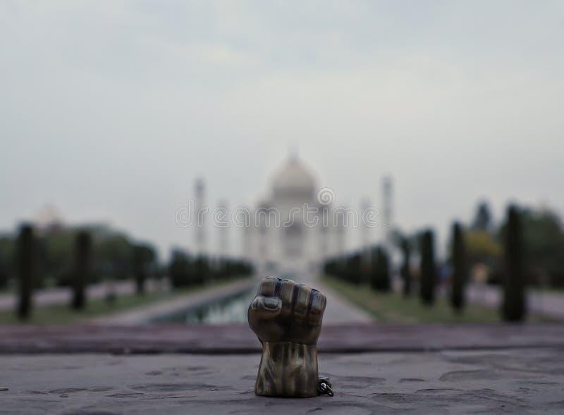 Hulk at Taj Mahal. Hulk hand kept in front of Taj Mahal royalty free stock image