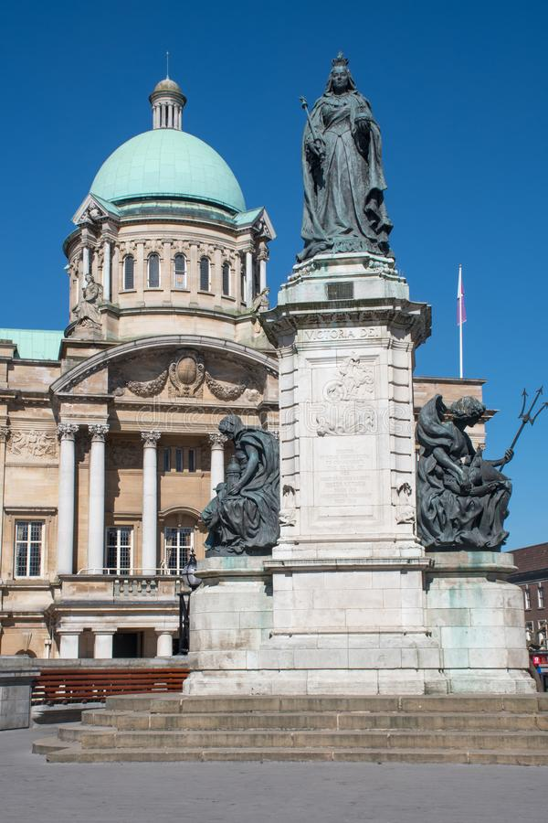 Hull City Hall with Queen Victoria statue royalty free stock images