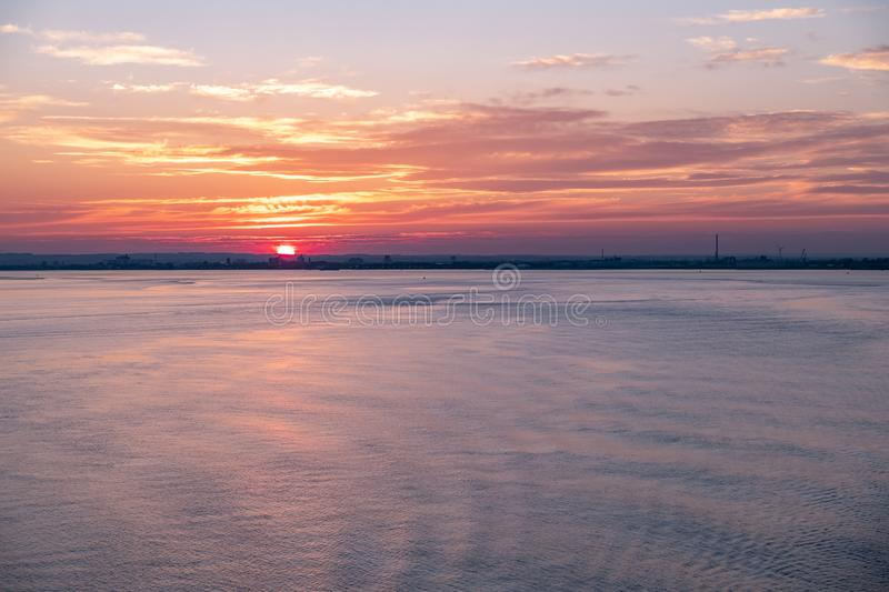 Hull harbor at sunset, England - United Kingdom.  royalty free stock photo