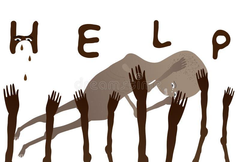 Hulp Afrikaanse slechte Kinderen stock illustratie