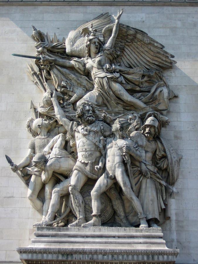 Hulp in Arc DE Triomphe stock afbeelding