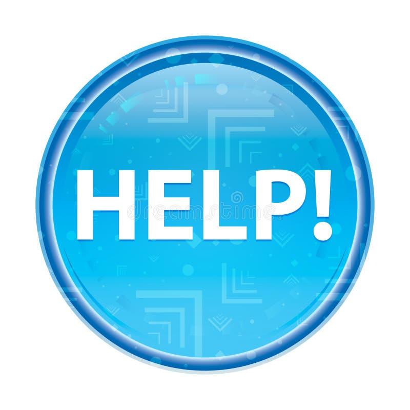 Hulp! bloemen blauwe ronde knoop vector illustratie