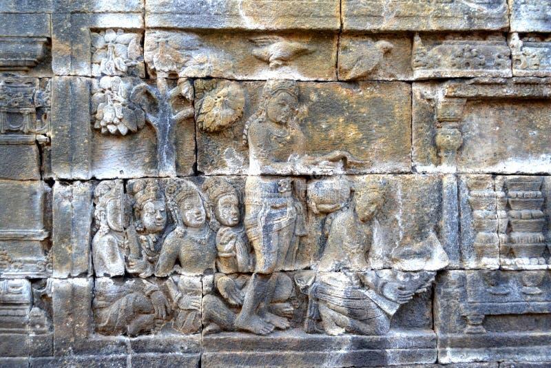 Hulp in Borobudur-tempel, Indonesië royalty-vrije stock foto's