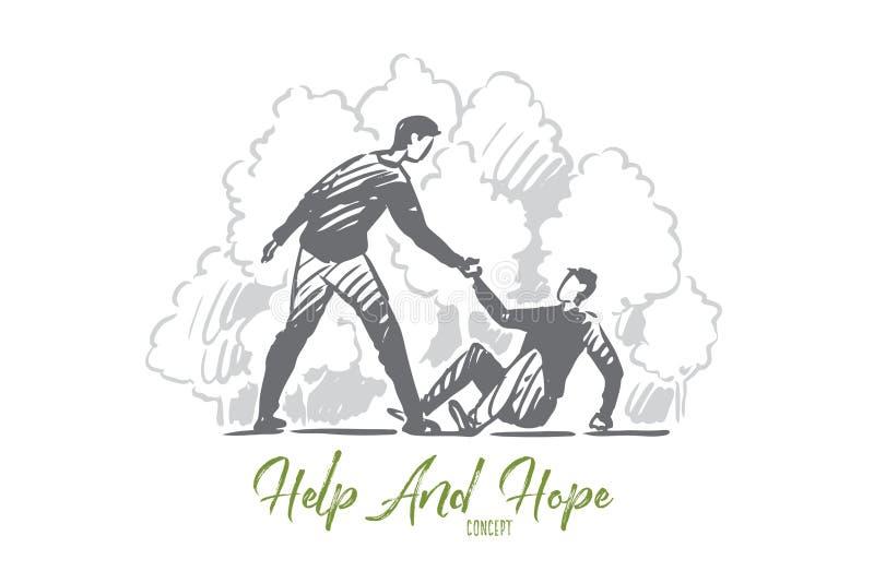 Hulp, daling, mens, ongeval, mensenconcept Hand getrokken ge?soleerde vector stock illustratie
