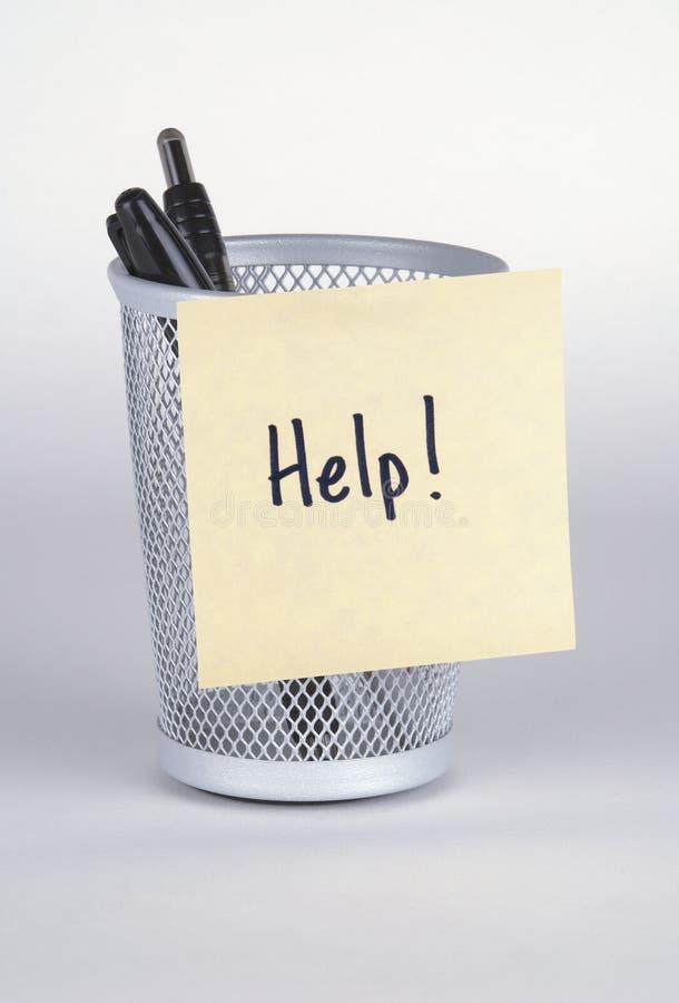 Hulp! De Nota van de post-it stock afbeeldingen