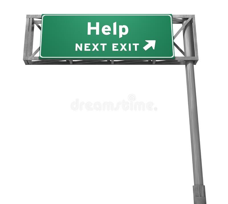 Hulp - het Volgende Teken van de Uitgang (Geïsoleerdeo Versie) royalty-vrije stock afbeelding