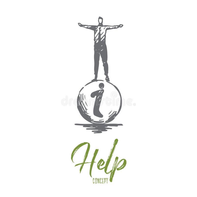 Hulp, mens, hand, zaken, steunconcept Hand getrokken geïsoleerde vector royalty-vrije illustratie