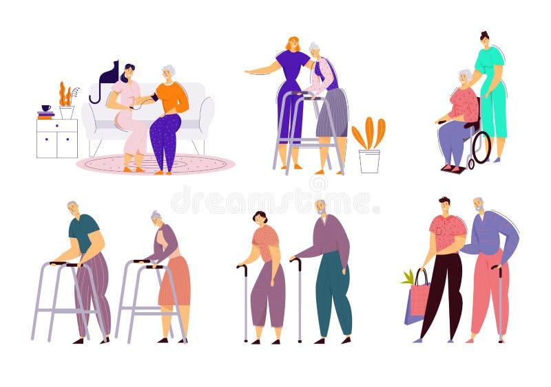 Hulp Oude Gehandicapten in Verpleeghuis Maatschappelijk werker Communautaire Zorg van Zieke Oudsten op Rolstoel, Deskundige Verpl royalty-vrije illustratie