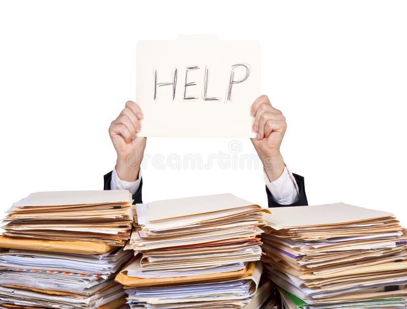 Hulp - Overwerkte zakenman stock afbeelding