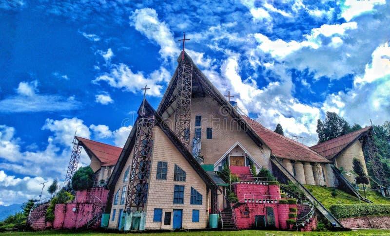 Hulp van de Mary Cathedral-kerk in Kohima Nagaland India stock fotografie