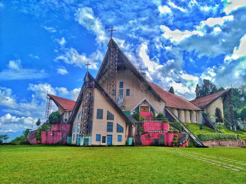 Hulp van de Mary Cathedral-kerk in Kohima Nagaland India royalty-vrije stock foto