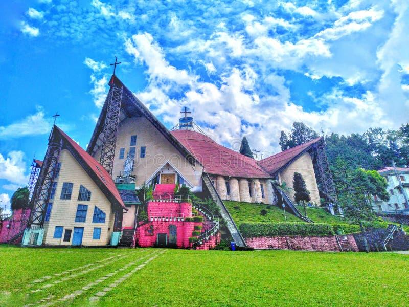 Hulp van de Mary Cathedral-kerk in Kohima Nagaland India stock foto's