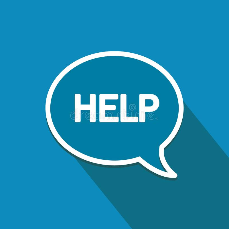 Hulp! Vlak ontwerppictogram Toespraakbel, online mededelingen en voorzien van een netwerk vector illustratie