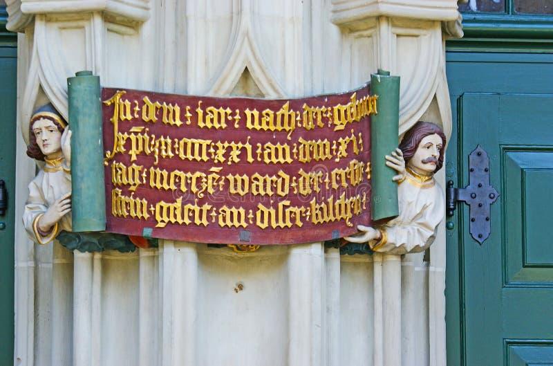 Hulpinschrijving op Munster in Berne royalty-vrije stock foto