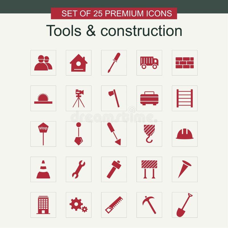 Hulpmiddelen en Bouwpictogrammen geplaatst vector stock illustratie